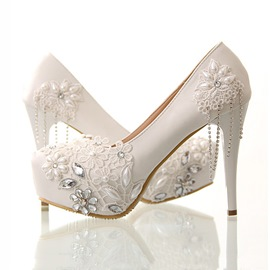 acd8867311d2 Ericdress Plain Lace Beading Stiletto Heels Wedding Shoes