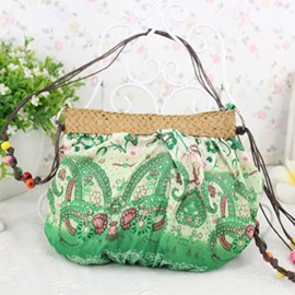 Ericdress Ethnic Style Floral Print Patchwork Knitted Shoulder Bag