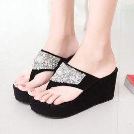 Shining Sequins Thong Slippers