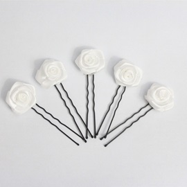 Modern Handmade White Satin Rose Bridal Headpieces