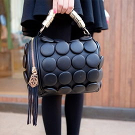 Lovely Round Button Tassels Handbag