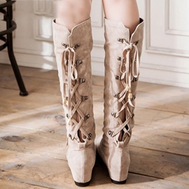 Ericdress dos Lace up bottes Knee High
