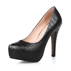 Simple Embossed Platform Solid Color Pumps
