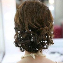 130cm Length Fascinating Bride's Headflower With Pearl With Jacket/Shawl