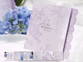 Floral Z-Fold Wedding Invitation (20 Pieces One Set)