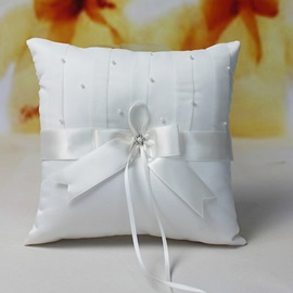 Eternity Satin Wedding Ring Pillow With Faux Pearl
