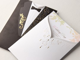 Classic Gown & Tux On Different Side Wedding Invitation (20 Pieces One Set)