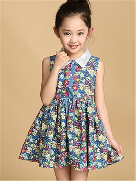 Ericdress Lapel Floral Print Girls Dress