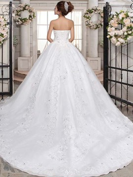 Modest Strapless Appliques Ball Gown Chapel Wedding Dress