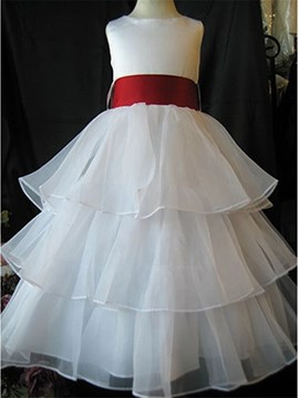 Cute A-line Round-Neck Ankle-length Bowknot Flower Girl Dress with Sash