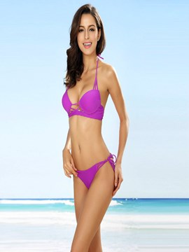 Ericdress Simple Halter Purple Bikini Set