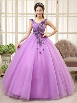Ericdress V-Neck Appliques Ball Gown Long Quinceanera Dress