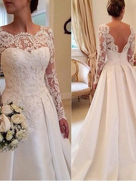 Ericdress Vintage Appliques Long Sleeves Wedding Dress