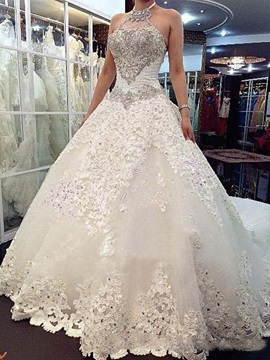 Ericdress Appliques Beaded Halter Cathedral Train Wedding Dress