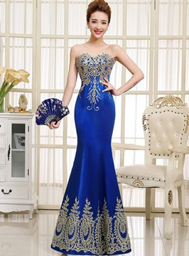 Applique Strapless Sweetheart Neckline Mermaid Evening Dress