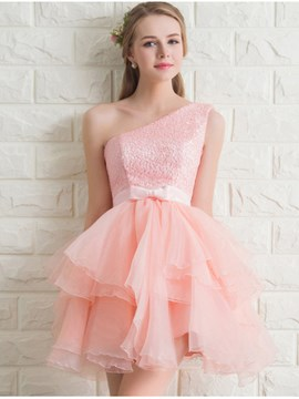 Ericdress Sweet One Shoulder Lace Bridesmaid Dress