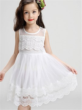 Ericdress Solid Color Mesh Girls Sleeveless Dress