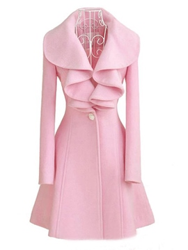 Ericdress Solid Color Frill Slim Coat