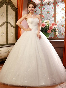 Ericdress Sweetheart Beading Sequins Ball Gown Wedding Dress
