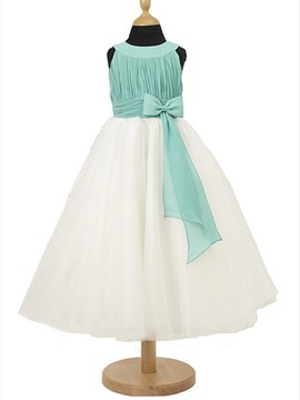 Glamorous A-Line Scoop Floor-length Bowknot Beautiful Flower Girl Dress