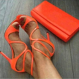 Ericdress Chic Orange Peep Toe Cut Out Stiletto Sandals