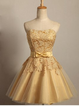 Ericdress Strapless Bowknot Lace Homecoming Dress