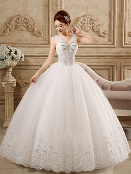 Ericdress Unique V-Neck Lace Ball Gown Wedding Dress
