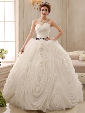 Ericdress Pretty Strapless Beading Ball Gown Wedding Dress
