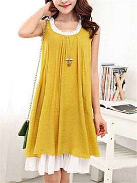 Ericdress Sleeveless Double-Layer Casual Dress