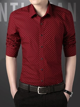 Ericdress Polka Dots Single-Breasted Autumn and Spring Men's Shirt