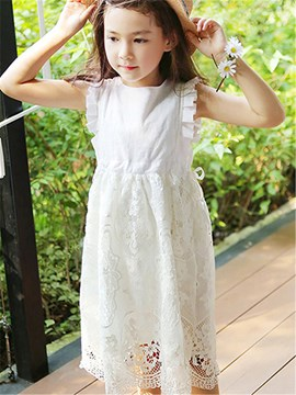 Ericdress Solid Color Hollow Girls Dress