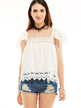 Ericdress Square Neck Hollow Patchwork Blouse