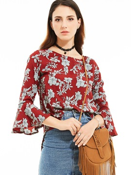 Ericdress Trumpet Floral Printed Blouse