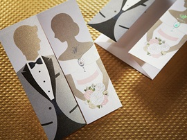 Personalized Bride & Groom Design Invitation Cards (20 Pieces One Set)