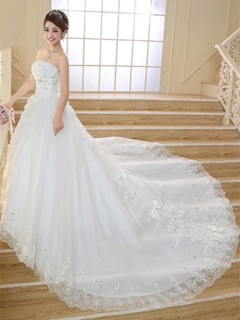 Classy Strapless Beading Bowknot Catherdral Wedding Dress