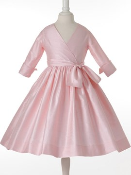 Pretty V-neck A-line 3/4-Length Sleeves Bowknot Flower Girl Dress