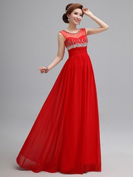 Ericdress Sequins Beaded Jewel Neck Floor-Length Prom Dress