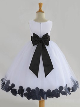 Ericdress Round Neck Bowknot Ball Gown Flower Girl Dress