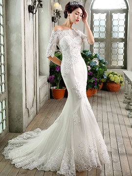 Ericdress Charming Half Sleeves Lace Mermaid Wedding Dress