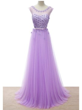 Ericdress Jewel Neck A-Line Appliques Long Evening Dress