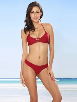 Ericdress Solid Color Hollow Lace-Up Bikini Set