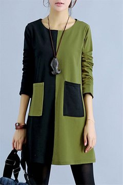 Ericdress Patchwork robe occasionnelle