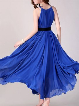 Ericdress Spaghetti Strap Solid Color Expansion Maxi Dress
