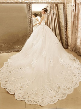 Noble High Neck Ball Gown Appliques Beadings Chapel Train Wedding Dress