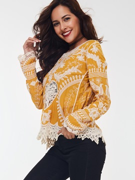 Ericdress Floral Crochet Lace Trim Blouse