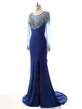 Ericdress Scoop Mermaid Long Sleeves Beading Court Train Evening Dress