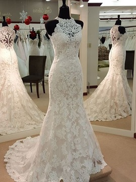 Ericdress Charming Jewel Appliques Sheath Wedding Dress