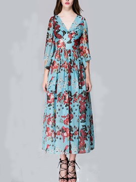 Ericdress Floral Print Flare Sleeve Maxi Dress
