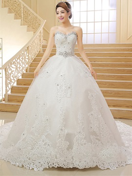 Ericdress Sweetheart Appliques Cathedral Train Wedding Dress