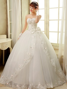 Ericdress Sweetheart Bowknot Appliques Ball Gown Wedding Dress